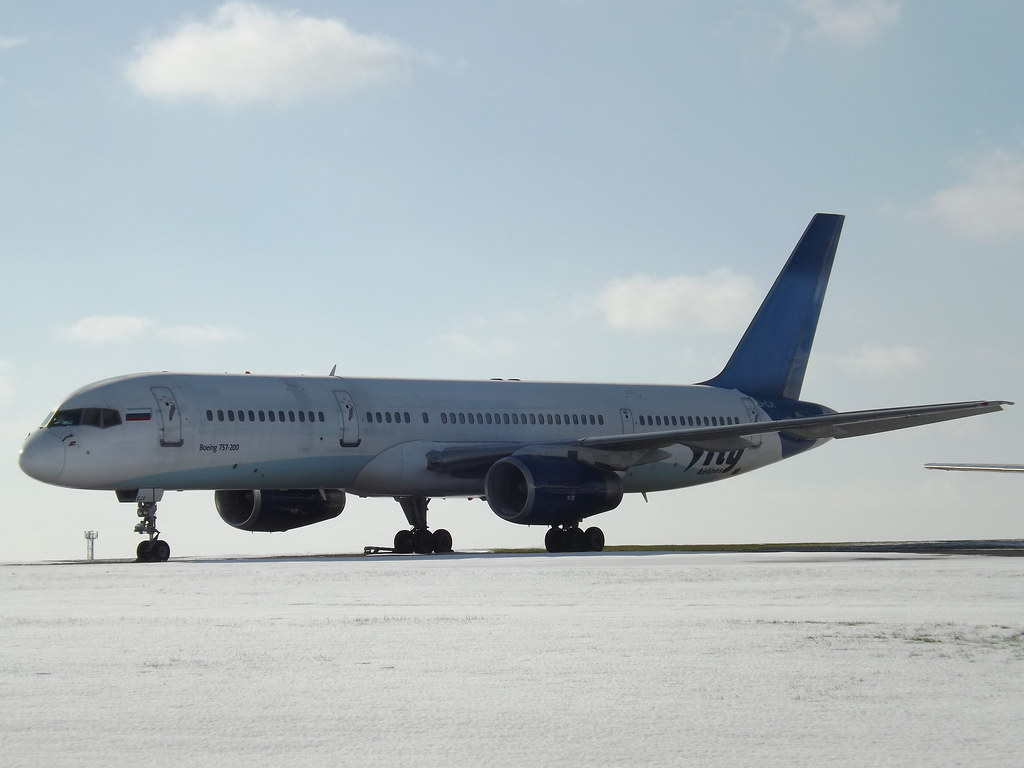 Private jet Boeing 757 is landed