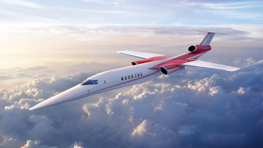 Private jet Aerion AS2 is flying above clouds